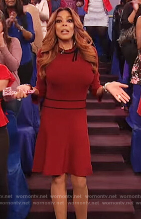 Wendy's red dress with black bow on The Wendy Williams Show