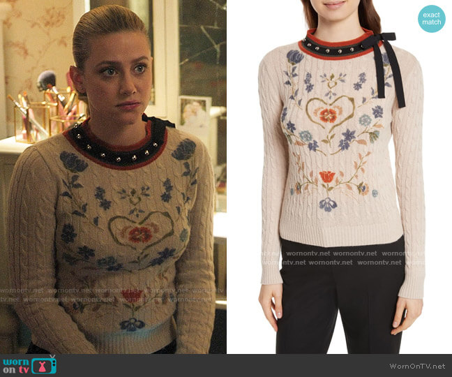 RED Valentino Wool Floral Sweater worn by Betty Cooper (Lili Reinhart) on Riverdale