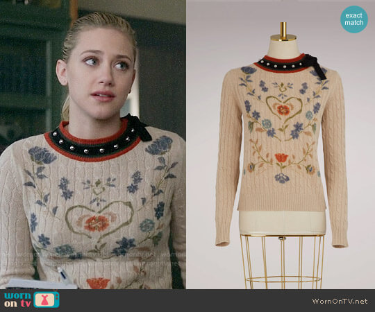 RED Valentino Wool Floral Sweater worn by Lili Reinhart on Riverdale