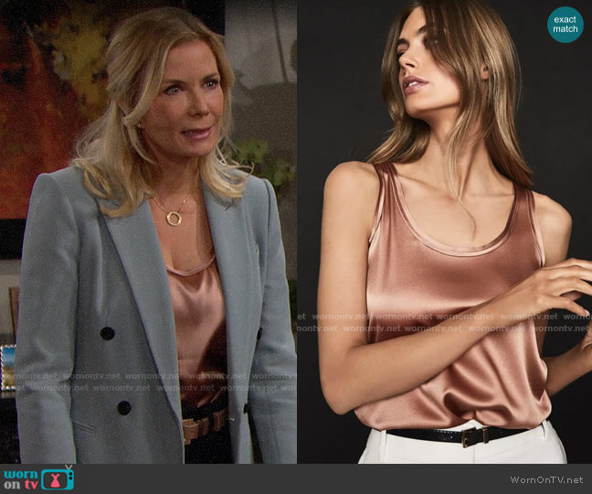 Reiss Remey Silk Vest worn by Brooke Logan (Katherine Kelly Lang) on The Bold & the Beautiful