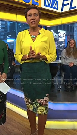 Robin's yellow blouse and green floral skirt on Good Morning America