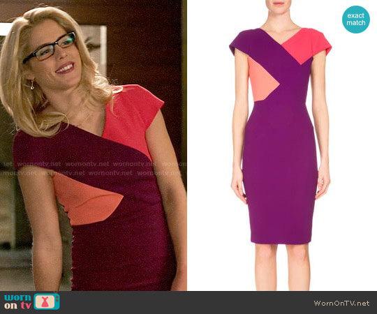 Roland Mouret Tournay Dress worn by Felicity Smoak (Emily Bett Rickards) on Arrow