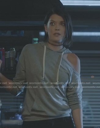 Sage's grey cutout hoodie on The Gifted