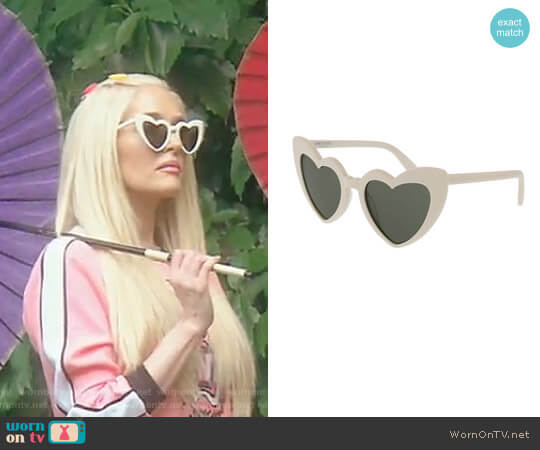 'Lou Lou' Oversized Heart Sunglasses by Saint Laurent worn by Erika Girardi (Erika Girardi) on The Real Housewives of Beverly Hills