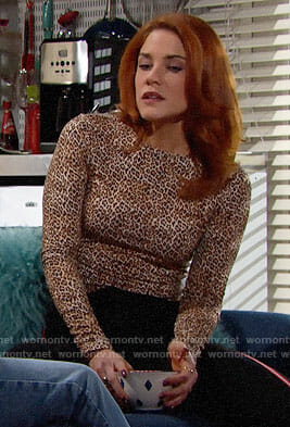 Sally's leopard print long sleeve top on The Bold and the Beautiful