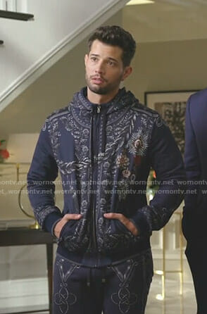 Sam's navy medal printed hoodie and sweatpants on Dynasty