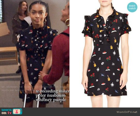 Sandro Ruffle Trim Tattoo Print Silk Dress worn by Zoey Johnson (Yara Shahidi) on Blackish