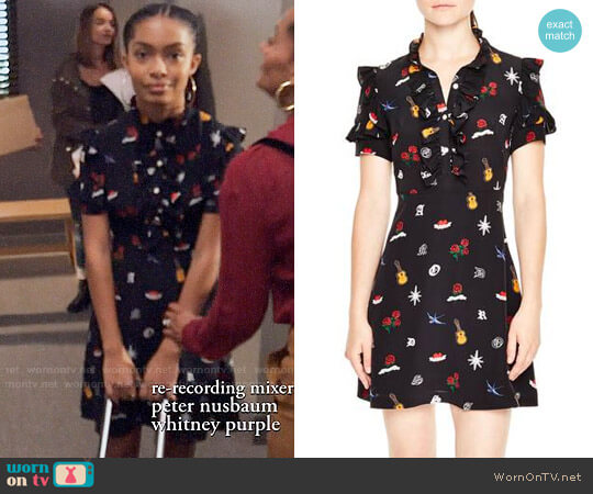 Sandro Ruffle Trim Tattoo Print Silk Dress worn by Yara Shahidi on Blackish
