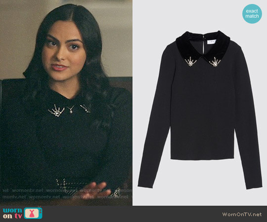 Sandro Sweater with Velvet and Rhinestones worn by Camila Mendes on Riverdale