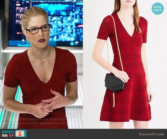 Sandro Vneck Ribbed Knit Dress worn by Felicity Smoak (Emily Bett Rickards) on Arrow