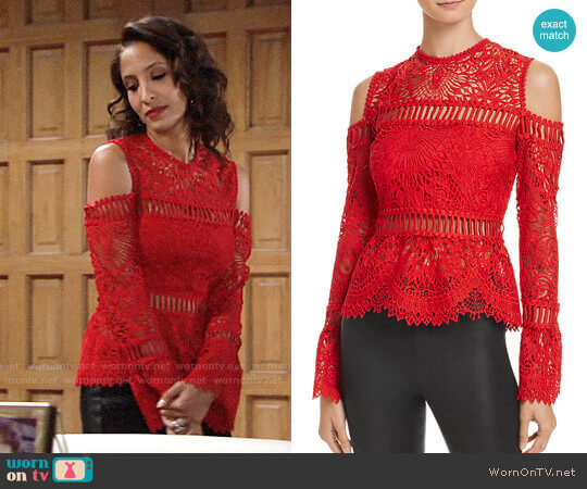 Saylor Sistine Embroidered Lace Cold-Shoulder Top worn by Christel Khalil on The Young & the Restless