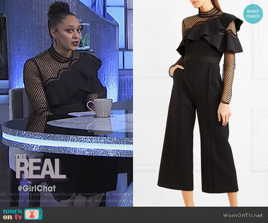 Cropped Ruffled Guipure Lace and Crepe jumpsuit by Self Portrait worn by Tamera Mowry (Tamera Mowry) on The Real