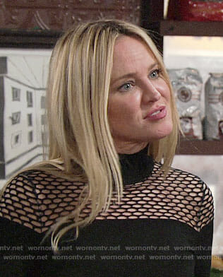 Sharon's black perforated sweater on The Young and the Restless
