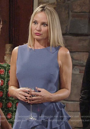 Sharon's blue ruffled dress on The Young and the Restless