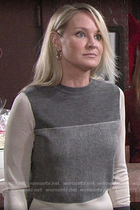 Sharon's grey colorblock sweater on The Young and the Restless