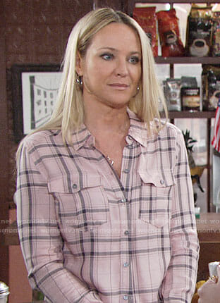 Sharon's pink plaid shirt on The Young and the Restless