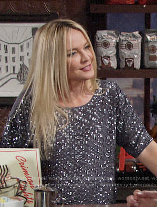 Sharon's grey sequin top on The Young and the Restless