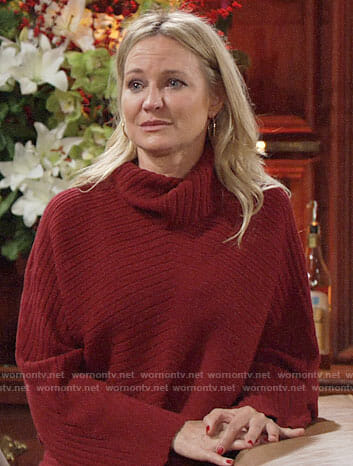 Sharon's red ribbed turtleneck sweater on The Young and the Restless