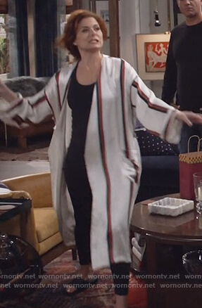 Grace's white silk striped robe on Will and Grace