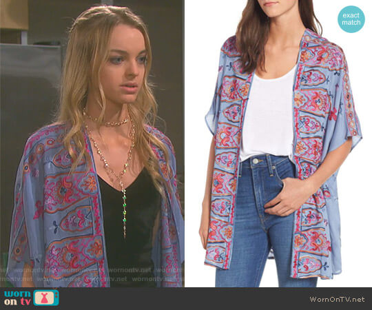 Embroidered Kimono by Socialite worn by Olivia Rose Keegan on Days of our Lives