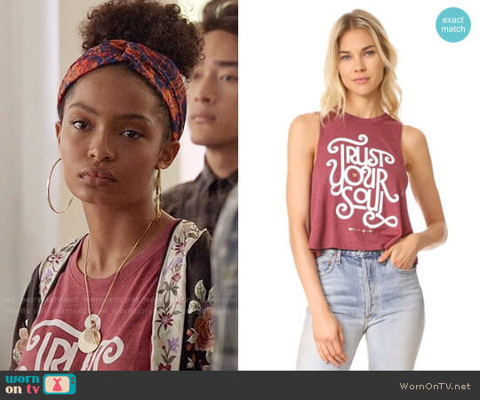 Spiritual Gangster Trust Your Soul Tank Top worn by Zoey Johnson (Yara Shahidi) on Grown-ish
