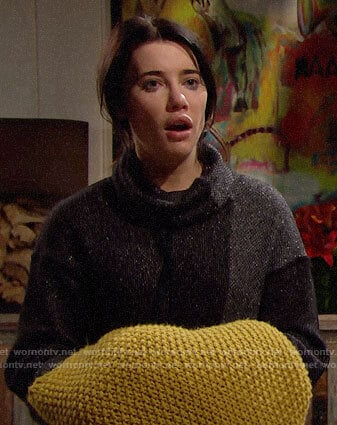 Steffy's black and grey turtleneck sweater on The Bold and the Beautiful