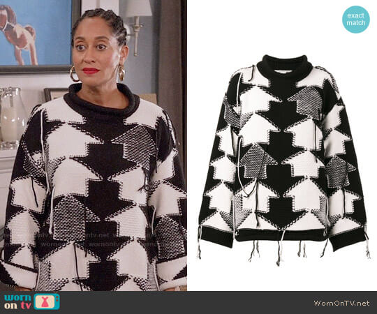Stella McCartney Check Volume Jumper worn by Rainbow Johnson (Tracee Ellis Ross) on Blackish