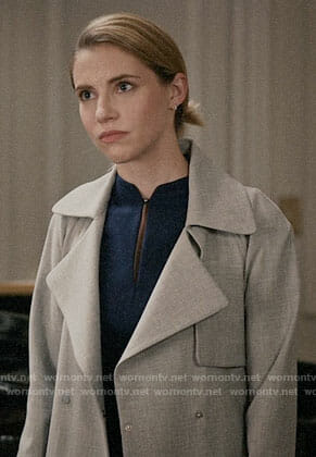 Stevie's blue keyhole dress and grey coat on Madam Secretary