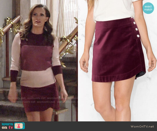 & Other Stories Velvet Mini Skirt worn by Melissa Claire Egan on The Young & the Restless