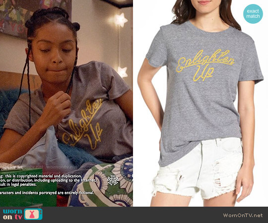 Sub_Urban Riot Enlighten Up Graphic Tee worn by Yara Shahidi on Grown-ish