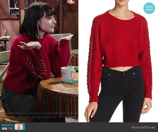 Sunset & Spring Hardware Detail Cable-Knit Sweater worn by Cait Fairbanks on The Young & the Restless