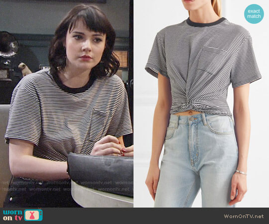 T by Alexander Wang Cropped Twist-front T-shirt worn by Cait Fairbanks on The Young & the Restless