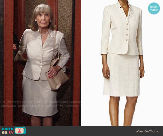 Tahari ASL Jacquard Embellished Skirt Suit worn by Dina Mergeron (Marla Adams) on The Young & the Restless