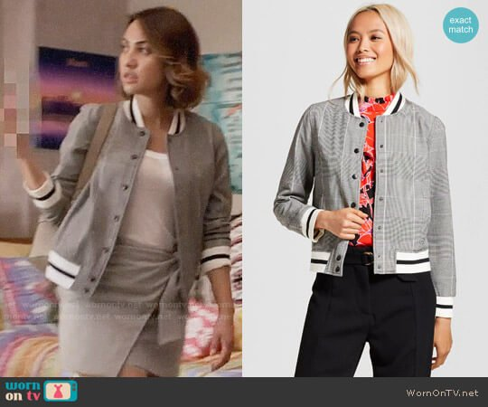 Who What Wear for Target Varsity Bomber Jacket worn by Ana Torres (Francia Raisa) on Grown-ish