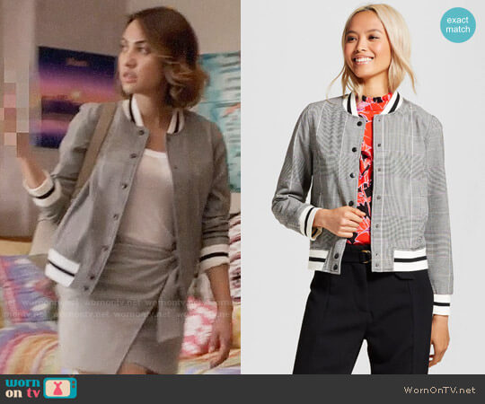 Who What Wear for Target Varsity Bomber Jacket worn by Francia Raisa on Grown-ish