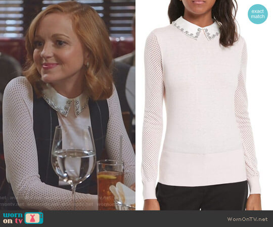Braydey Embellished Collar Sweater by Ted Baker worn by Jayma Mays on Great News