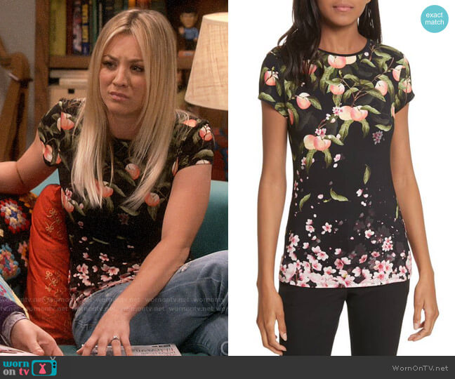 Ted Baker Peach Blossom Fitted T-shirt worn by Kaley Cuoco on The Big Bang Theory