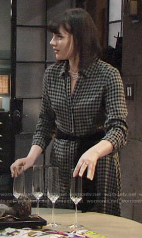 Tessa's grey gingham check maxi shirtdress on The Young and the Restless
