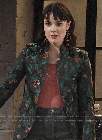 Tessa's guitar print blazer and coral mesh top on The Young and the Restless