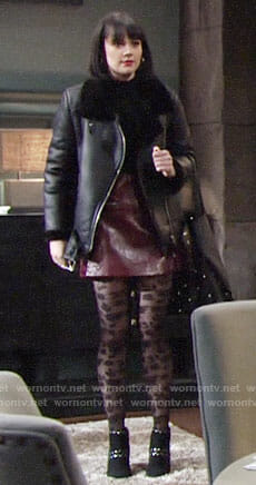 Tessa's studded ankle boots and leather skirt on The Young and the Restless
