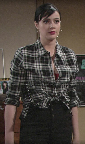 Tessa's black plaid shirt on The Young and the Restless