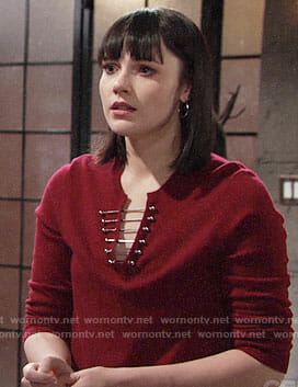 Tessa's red barbell sweater on The Young and the Restless