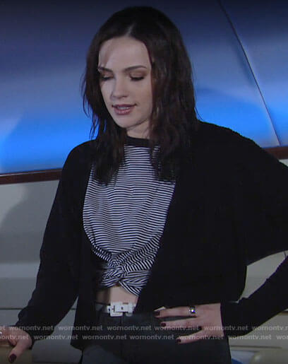 Tessa's striped cropped t-shirt on The Young and the Restless