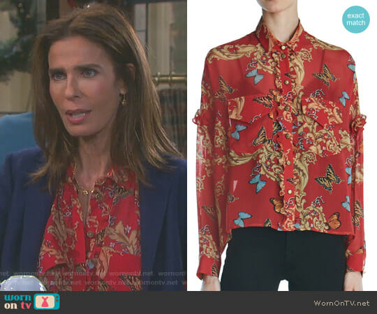 Ruffled Leaf & Butterfly-Print Silk Shirt by The Kooples worn by Kristian Alfonso on Days of our Lives