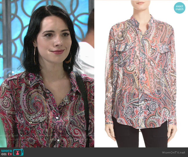 The Kooples Paisley Print Blouse worn by Cait Fairbanks on The Young & the Restless