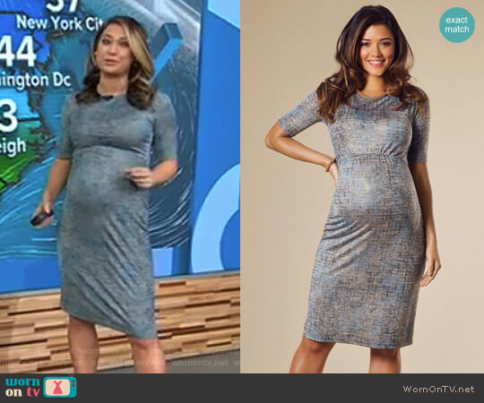 'Anna' Maternity Shift Dress in Bronze Blue by Tiffany Rose worn by Ginger Zee (Ginger Zee) on Good Morning America