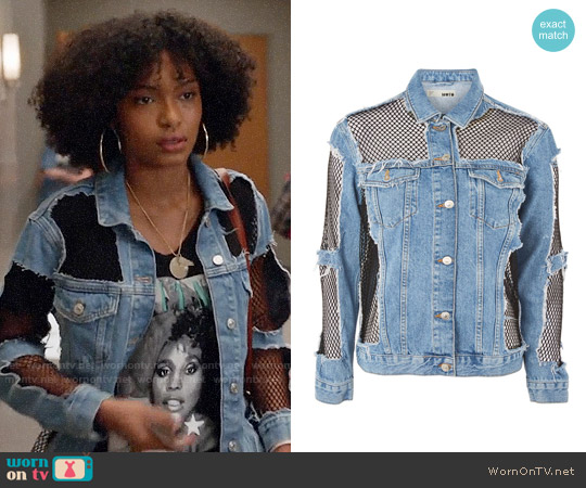 Topshop MOTO Oversized Denim Fishnet Jacket worn by Yara Shahidi on Grown-ish