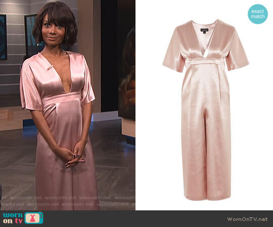 Satin Plunge Jumpsuit by Topshop worn by Zuri Hall on E! News