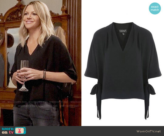Topshop Side Tie Blouse worn by Kaitlin Olson on The Mick
