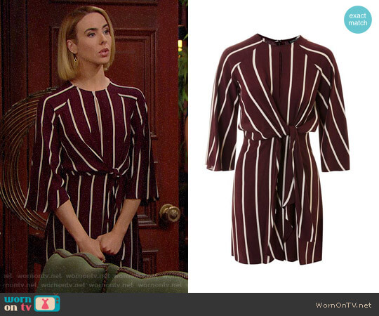 Topshop Stripe Knot Front Minidress worn by Ashleigh Brewer on The Bold & the Beautiful